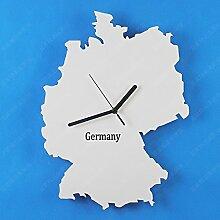 Damjic Karte Art Fashion Clock Einfache Europäische Garten Zimmer Wanduhr Holz Wanduhr Holz Wanduhr Weiß Deutschland