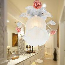 Damjic Schlafzimmer In Warmen Garten Blumen Deckenleuchte Im Europäischen Stil Eisen Im Amerikanischen Stil Deckenleuchte W30*H21 Cm Weiß