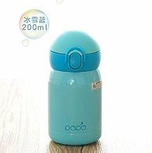 Damlonby Kleine Iso-becher, einfachen Mini Edelstahl frische Studenten Tragwagen Tasse Wasser, Schnee und Eis Blau-200ML