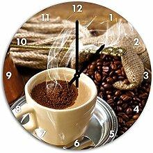 Dampfender Kaffee, Wanduhr Durchmesser 48cm mit schwarzen spitzen Zeigern und Ziffernblatt, Dekoartikel, Designuhr, Aluverbund sehr schön für Wohnzimmer, Kinderzimmer, Arbeitszimmer