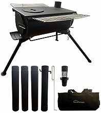 DANCHEL OUTDOOR Camping-Stahl-Holzofen mit Grill