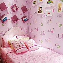 Dancing Cartoon Mädchen Hintergrundbilder/Prinzessin Zimmer Tapete/warme Schlafzimmer Tapeten/Rosa Vliestapete/Kinder Zimmer Bett Tapete-C