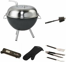 Dancook Holzkohle Grill 1300, mehrfarbig + Grillbürste + Grillbesteck + Grillhandschuhe + Thermometer + Grillkorb
