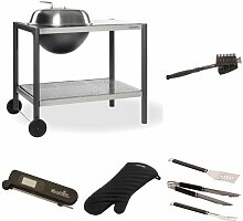 Dancook Holzkohle Grill 1500, mehrfarbig + Grillbürste + Grillbesteck + Grillhandschuhe + Thermometer + Grillkorb