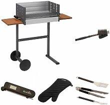 Dancook Holzkohle Grill 7300, mehrfarbig + Grillbürste + Grillbesteck + Grillhandschuhe + Thermometer + Grillkorb