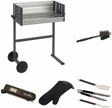 Dancook Holzkohle Grill 7400, mehrfarbig + Grillbürste + Grillbesteck + Grillhandschuhe + Thermometer + Grillkorb