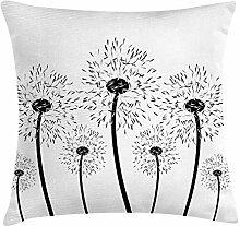 Dandelion Throw Pillow Cushion Cover, Monochrome