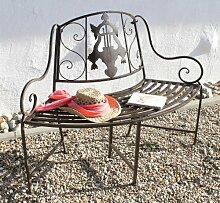 DanDiBo Bank JD130838 aus Metall Gartenbank Sitzbank Baumbank 2-Sitzer 116 cm Rundbank