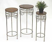 DanDiBo Blumenhocker aus Metall mit Holz Rund