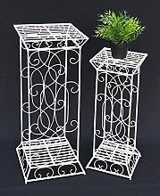 DanDiBo Blumensäule Metall Weiß Eckig 2er Set 63