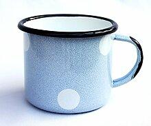 DanDiBo Emaille Tasse 501/8 Hellblau mit weißen