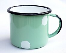 DanDiBo Emaille Tasse 501/8 Hellgrün mit weißen