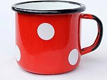 DanDiBo Emaille Tasse 501/8 Rot mit weißen