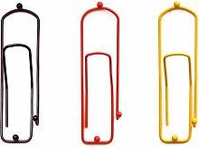 DanDiBo Kleiderhaken Büroklammer Schwarz Rot Gold 32 cm 3stk. Garderobe Wandhaken Haken