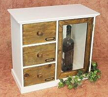 DanDiBo Minikommode Schubladen mit Tür Holz Schubladenschrank 12019 Küchenschrank Natur Regal 50 cm Shabby Chic Küchenregal Vitrine