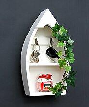 DanDiBo Schlüsselboard aus Holz mit Ablage Boot