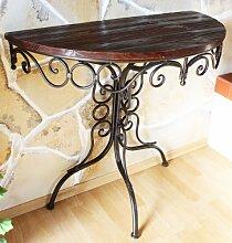 DanDiBo Tisch Halbrund Metall Wandtisch Holz