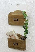 DanDiBo Wandregal Landhaus Weiß aus Holz 12028 Regal für die Wand 60 cm Vintage Shabby Chic Küchenregal Magazinhalter Zeitungshalter