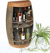 DanDiBo Weinregal Holz Weinfass Braun Halbrund 83