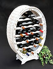 DanDiBo Weinregal Weiss Weinfass aus Holz für 24