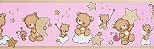 Dandino Bordüre Kinder Bären und Sterne, Pink