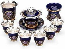 DANJIA Kung Fu Tee-Set aus Keramik, silberfarben