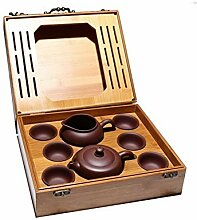 DANJIA Kung-Fu-Tee-Set mit Teekanne, Bambus-Box,