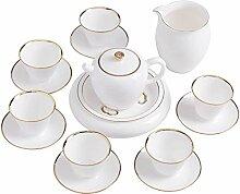 Danjia Tee-Set aus Keramik, weißes Porzellan,