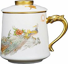Danjia Teetasse aus weißem Porzellan mit Deckel,