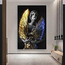 Danjiao Mit Goldenen Flügeln Frau Abstrakte