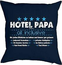 Dankeschön Vater Geschenk Idee Kissen mit Innenkissen - HOTEL PAPA … Taxi Dienst für Väter zum Geburtstag Geschenk Vatertag für Ihn - Deko u Nutzkissen 40x40cm blau : )