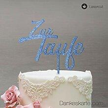 Dankeskarte.com Cake Topper Zur Taufe Zweizeilig -