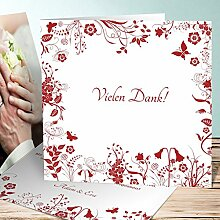 Dankeskarten Hochzeit Postkartenformat, Sophias Garten 80 Karten, Quadratische Klappkarte 145x145 inkl. weißer Umschläge, Ro