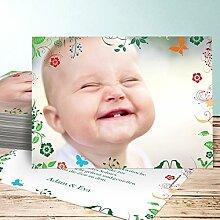 Dankkarten Baby, Sophias Garten 20 Karten, Horizontal einfach 148x105 inkl. weiße Umschläge, Grün