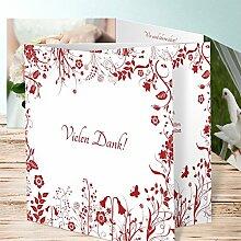 Danksagung Hochzeit, Sophias Garten 200 Karten, Doppelklappkarte 145x145 inkl. weißer Umschläge, Ro