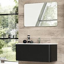 Dansani Curvo Badmöbel Set 1 - 90 cm mit Flächenspiegel, Porzellan-Waschtisch und Waschtischunterschrank- B: 930 H: 2000 T: 500