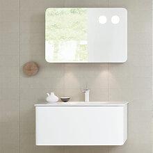 Dansani Curvo Badmöbel Set 2 - 90 cm mit Spiegelschrank mit Lift Up Funktion, Porzellan-Waschtisch u Unterschrank- B: 930 H: 2000 T: 500