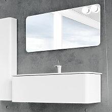 Dansani Curvo Badmöbel Set 4 - 123 cm mit Flächenspiegel, Porzellan-Waschtisch und Waschtischunterschrank- B: 1230 H: 418 T: 500