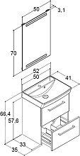 Dansani Mido Badmöbel Set 52 cm mit Flächenspiegel, Keramik-Waschtisch, Unterschrank 2 Schubladen, Griffe in Chrom- B: 520 H: 2000 T: 405