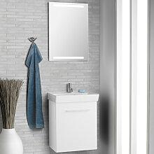 Dansani Mido Badmöbel Set 52 cm mit Flächenspiegel, Keramik-Waschtisch, Unterschrank 1 Tür, Griffe in Chrom- B: 520 H: 2000 T: 405