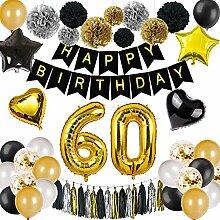 DANXIAN 60 Geburtstag Deko Schwarz Gold, Happy