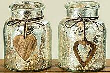 Dapo Windlicht Herz Glas lackiert Silber mit
