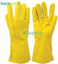 daptez® 5x Gelb Reinigung Latex Handschuhe Texturierte Griff Flock Gefüttert Auto waschen Haushal