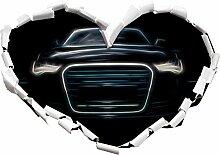 Dark Audi A8 Herzform im 3D-Look , Wand- oder