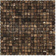 Dark Emperador 5/8x 5/8Trommelstein Marmor
