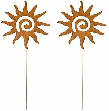 DARO DEKO Metall Garten-Stecker 75cm Sonne rostig