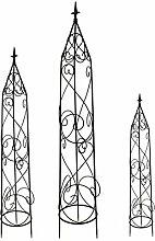 DARO DEKO Metall Rankhilfe Obelisk schwarz 3er Set