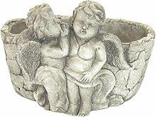 DARO DEKO Steingut Pflanztopf mit Engelpaar