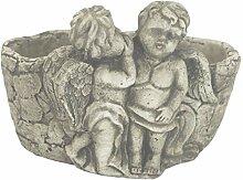 DARO DEKO Steingut Pflanztopf mit Engelpaar Grau