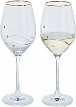Dartington Crystal Glitz Weinglas, Kristall, Gold,